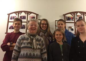 Præstebørn 2016-17 fra venstre: Marcus, Annelise Søndengaard, Kathrine, Max, Gustav og Mette